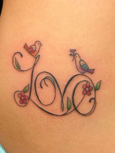 simple small colorful lovebirds tattoo