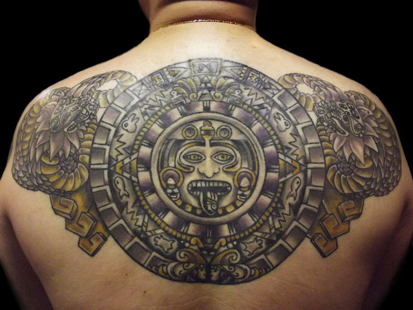 aztec sun god shield tattoo design on back