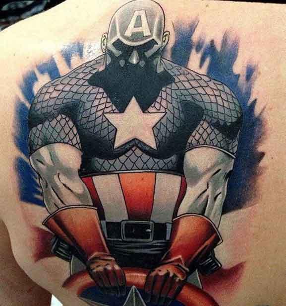 dark captain america tattoo design on full back