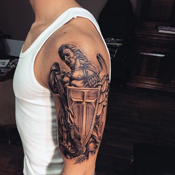 guardian angel with shield half sleeve tattoo