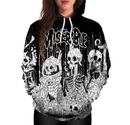 horror graffiti skeleton hoodie for halloween