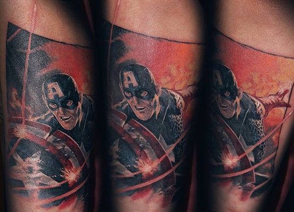 marvel comic hero captain america tattoo sticker