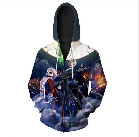 pumpkin king jack skellington 3d halloween hoodie with zipper