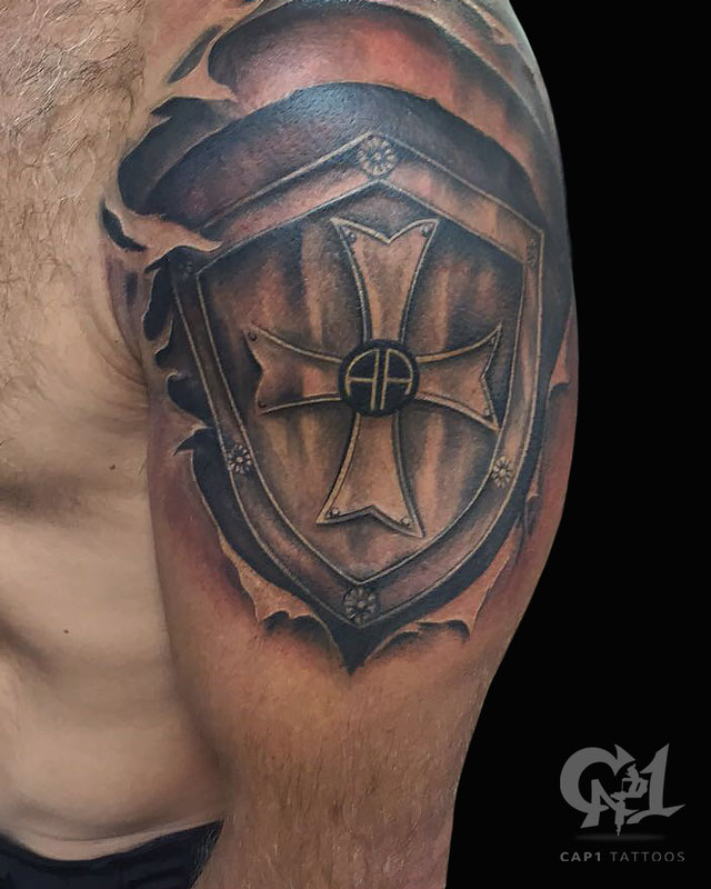 20 Amazing Shield Tattoo Designs And Ideas For Men Entertainmentmesh