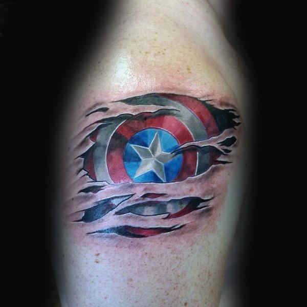upper sleeve ripped skin captain america tattoo design