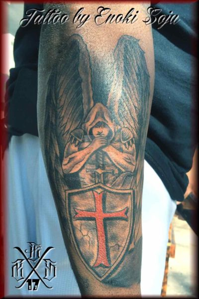 warrior angel with shield and sword tattoo by Enoki Soju