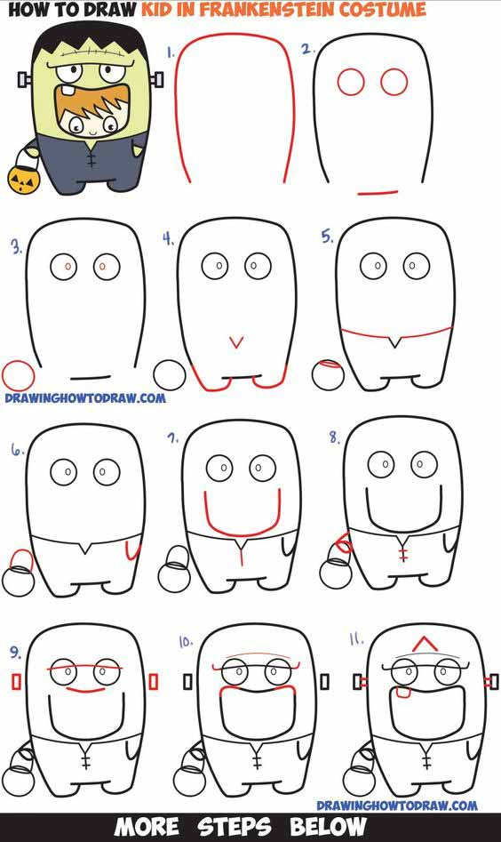 baby frankenstein drawing step by step image for kids
