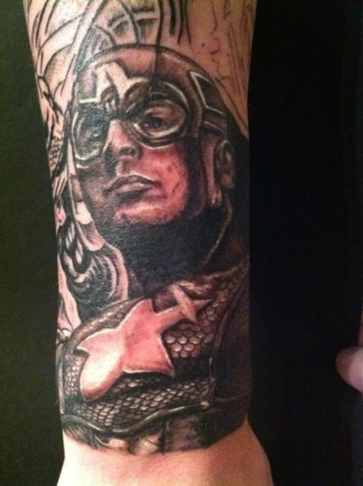 black and white captain america tattoo picture on forearm