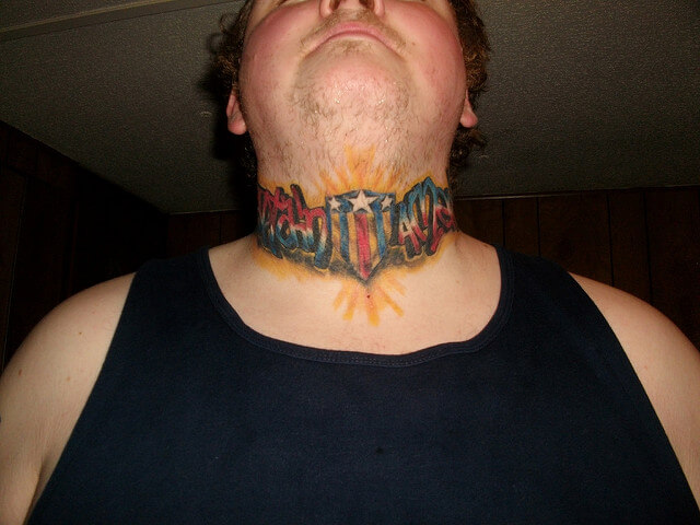 captain america text tattoo on neck