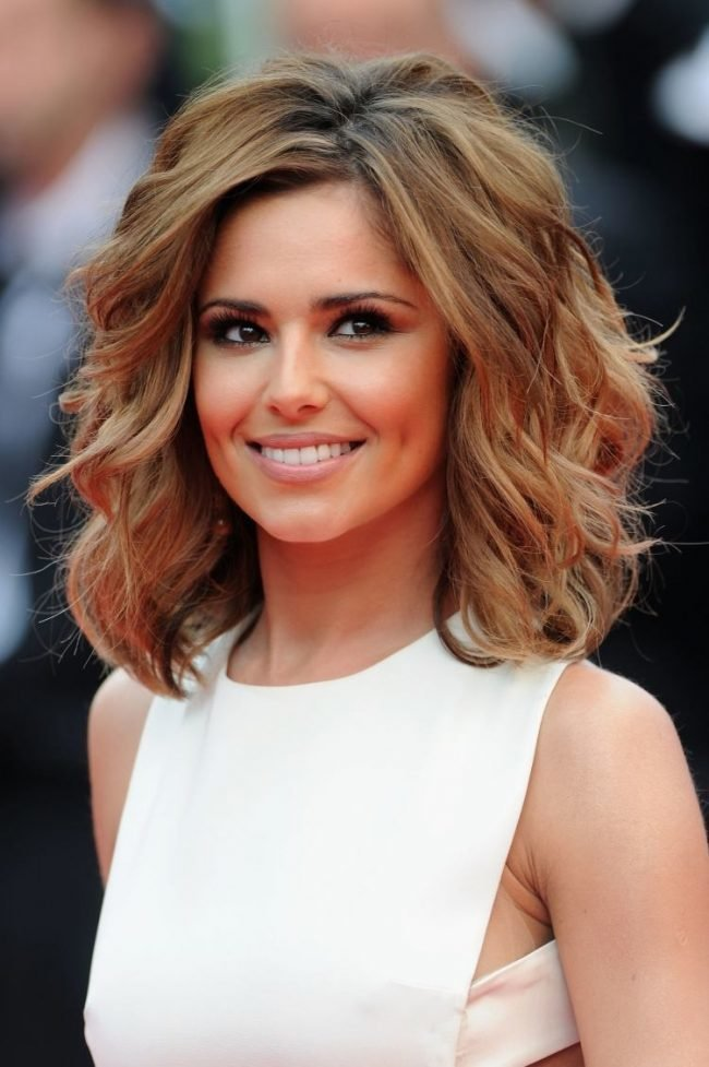 cheryl cole wavy long inverted bob hairstyle