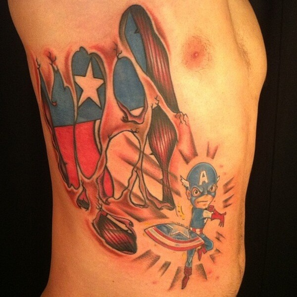 comic super hero captain america kids tattoo on side