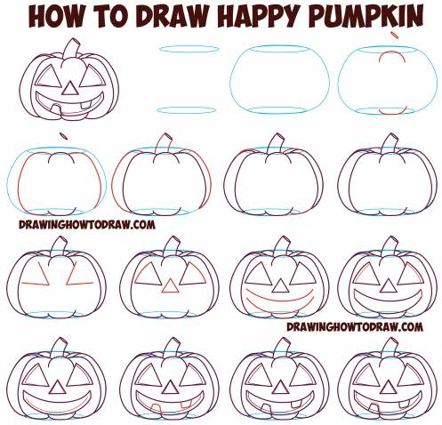 draw happy pumpkins on paper for halloween
