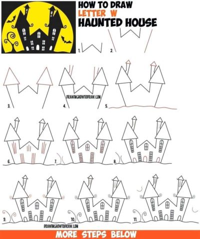 draw step by step haunted house for halloween