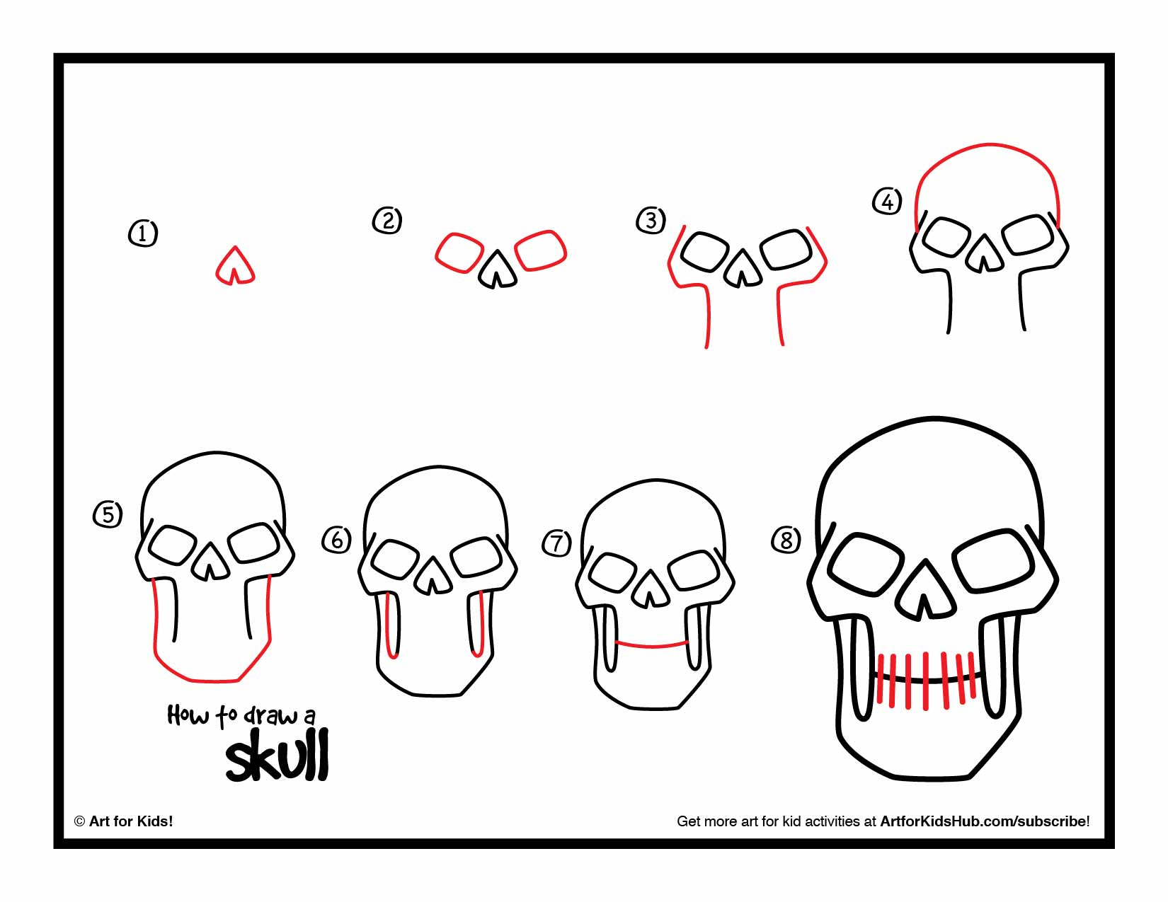 easy halloween skull drawing step by step pages for kids