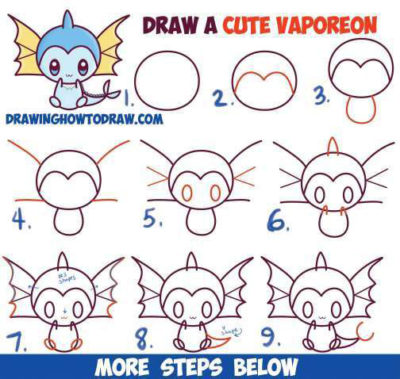 easy step by step learn to draw vaporeon for halloween