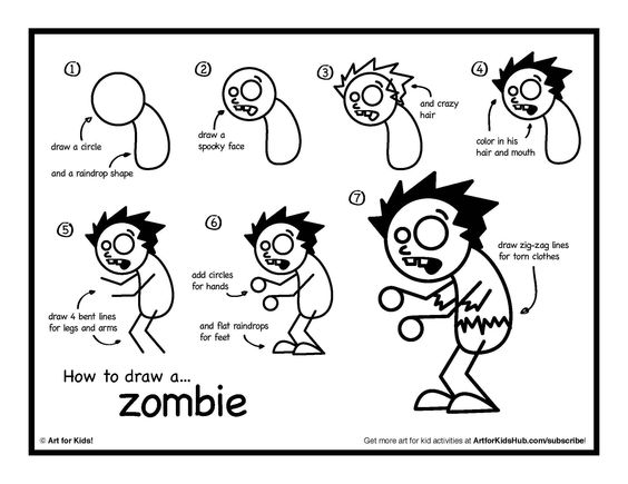 easy to draw zombie step by step for halloween