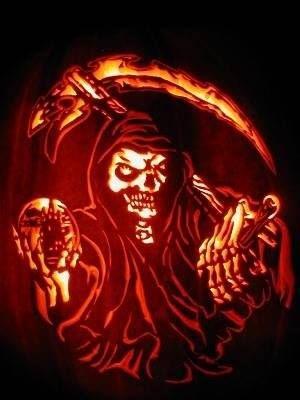 grim reaper pumpkin carving ideas for halloween contest