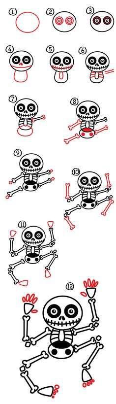 halloween skeleton drawing ideas for kids