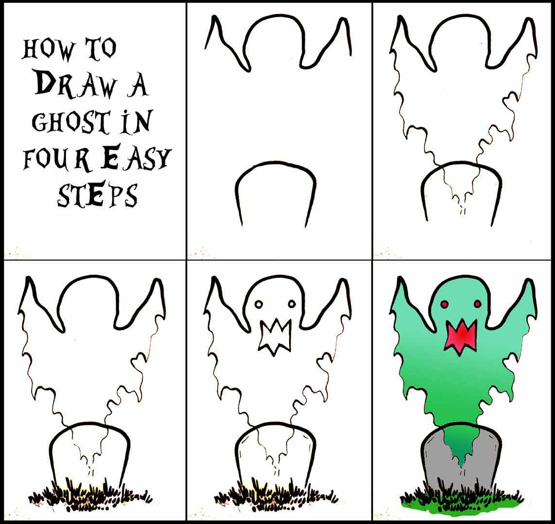 how to draw halloween ghost on paper in easy to follow four steps image