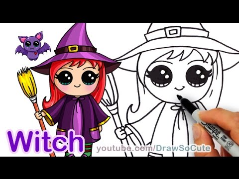 how to draw so cute halloween witch