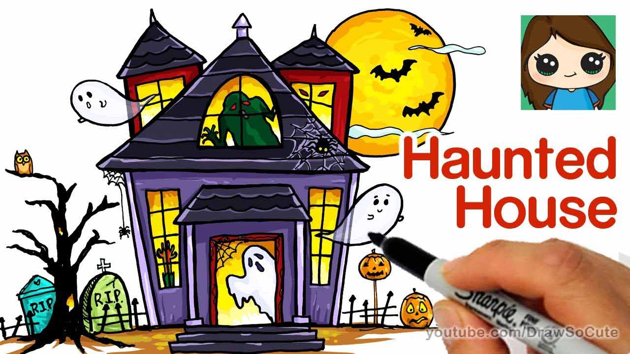 how to draw so cute haunted house drawing