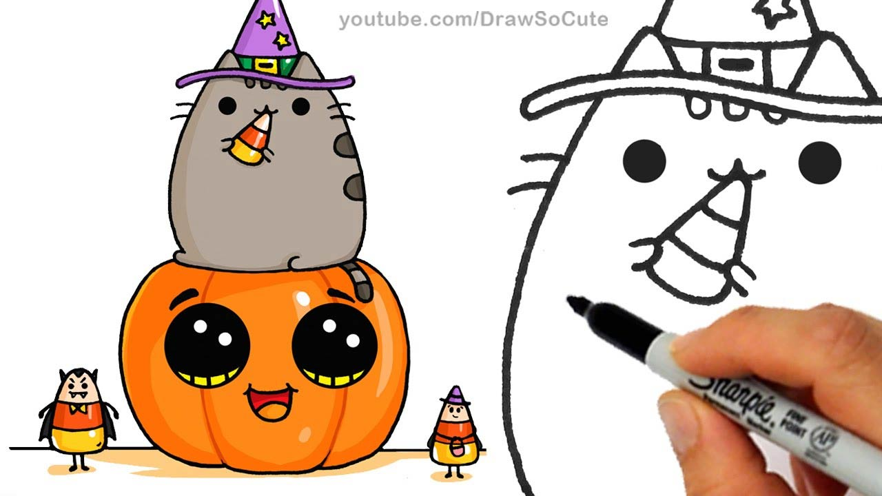 how to draw so cute pusheen cat pumpkin and candies for halloween