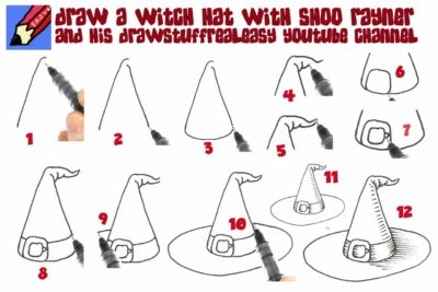how to draw witch hat for kids step by step halloween drawing pages