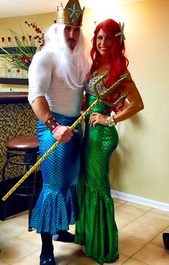 king triton and ariel halloween costume ideas for couples