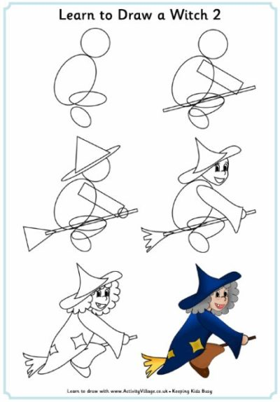 learn how to draw witch with broom for halloween