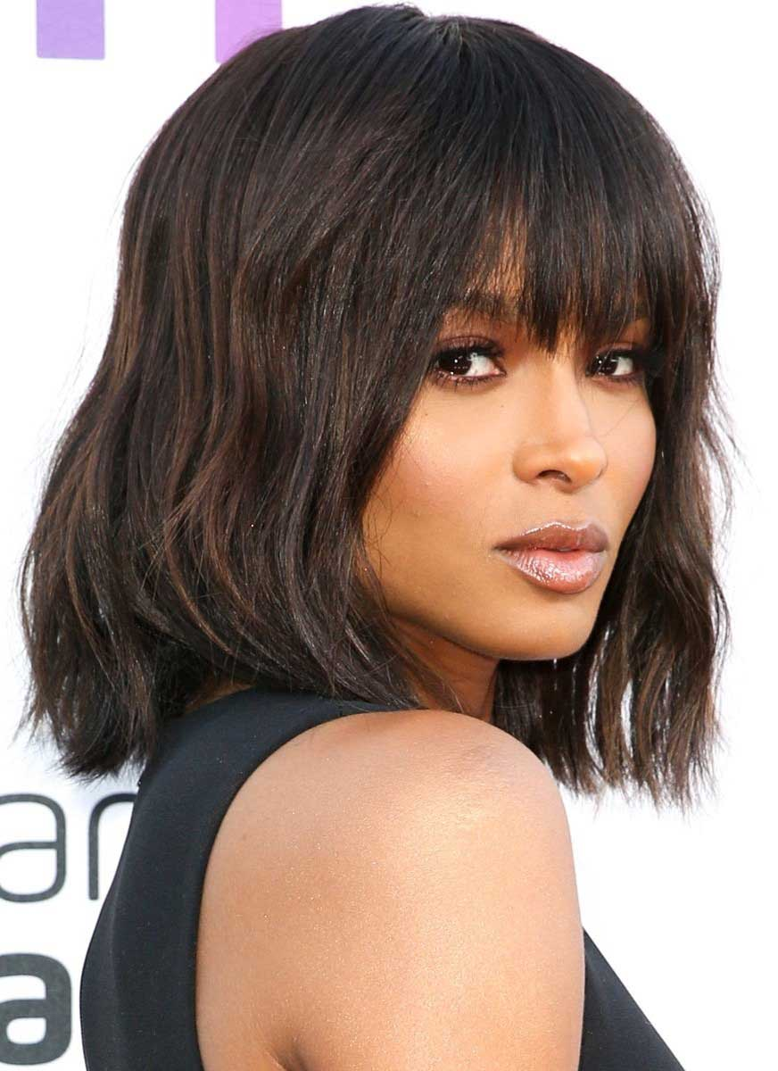 long bangs inverted bob hairstyles for black women ...