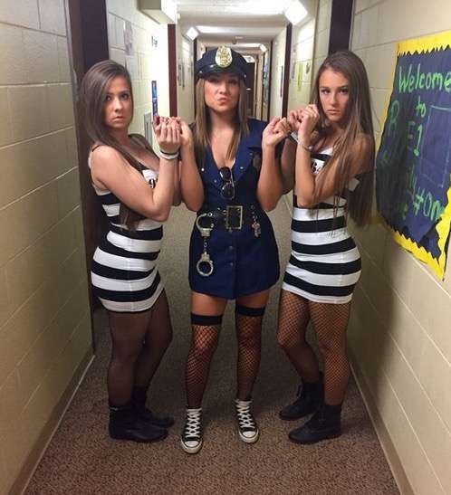 police cop-robbers college girls halloween costume ideas