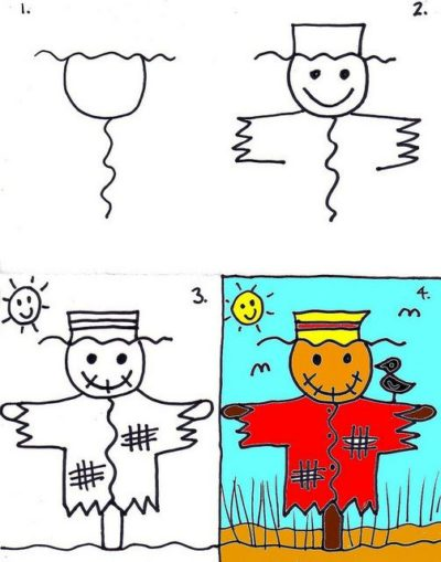 simple colorful scarecrow drawing ideas for halloween
