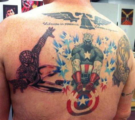 superheros spiderman captain america and hulk tattoo sticker on back