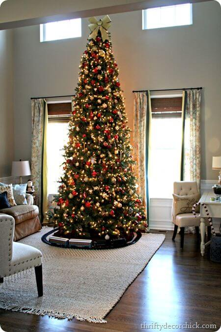 tall Christmas tree with globes