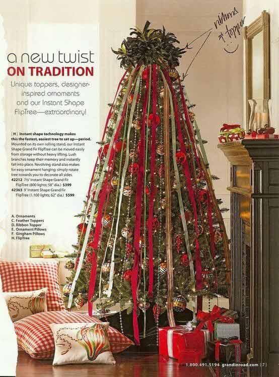 Cascading ribbon tree Christmas decorations