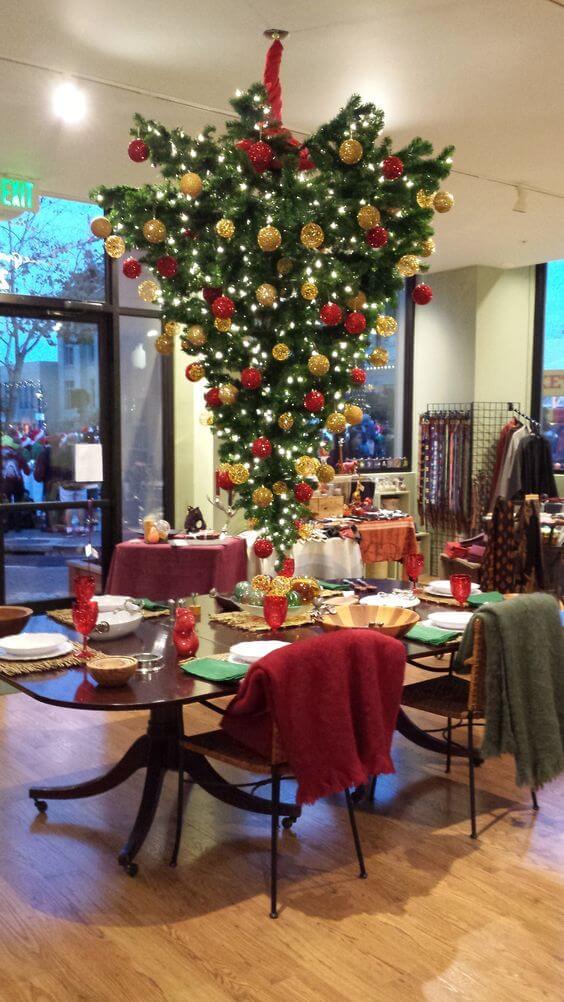 Upside down Christmas tree décor