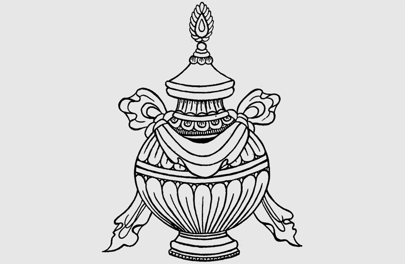 Buddhist vase symbol tattoo design sketch