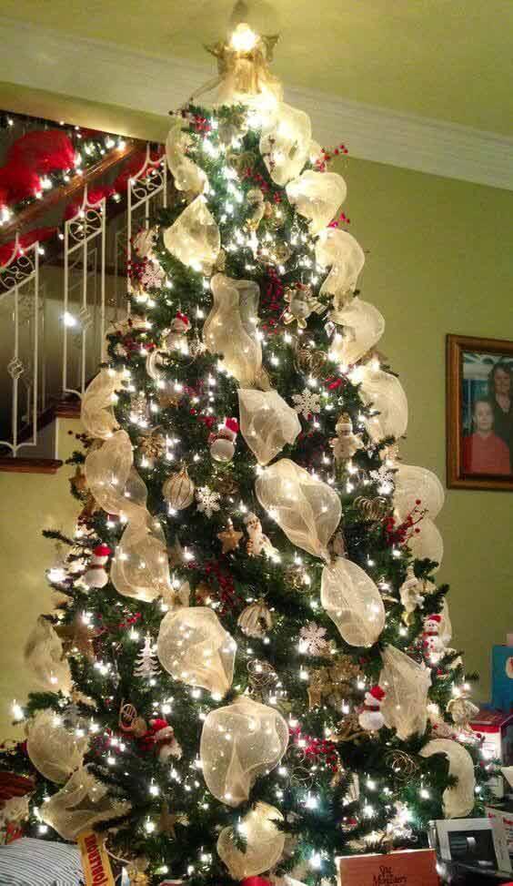 Christmas tree mesh decors