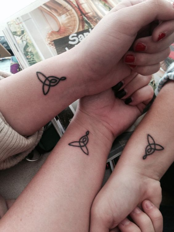 celtic knot symbols tattoo on wrist for best friends