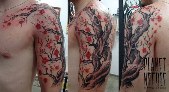cherry blossom tree tattoo for men sleeve shoulder