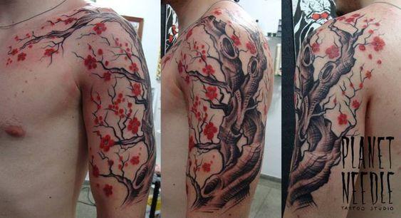cherry blossom tree tattoo for men sleeve shoulder