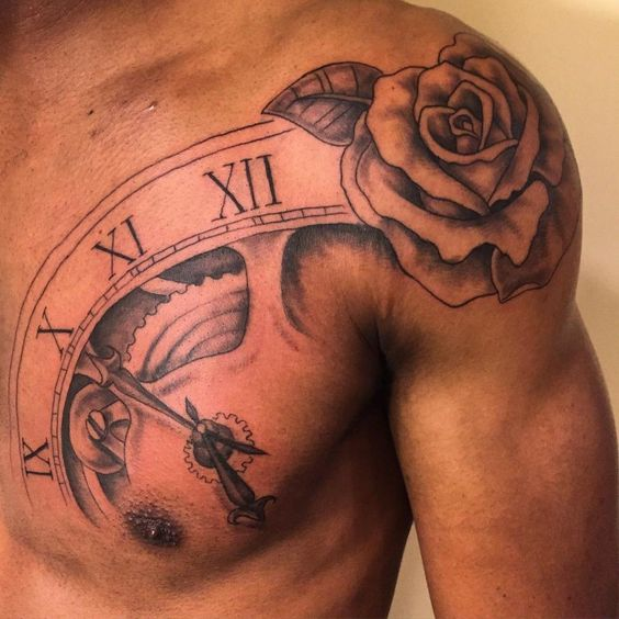 clock and rose tattoo on shoulder chest for men