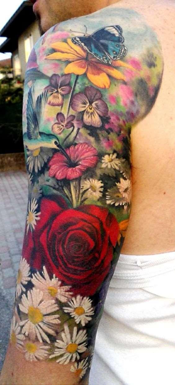 colorful flowers field tattoo on sleeve shoulder men