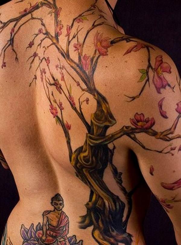gorgeous detailed full back budha with bodhi tree tattoo