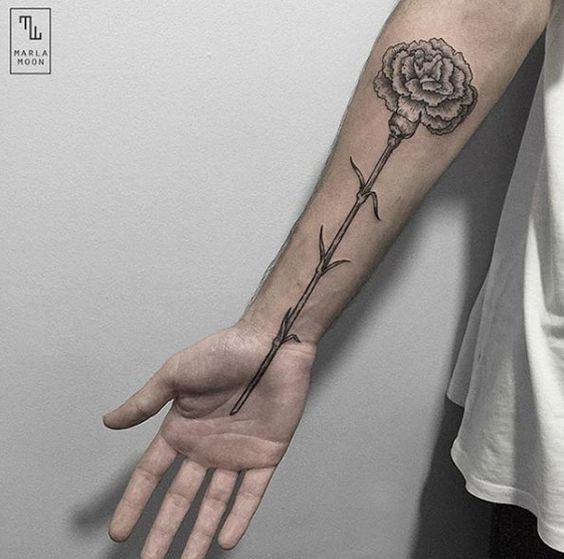 inner arm carnation tattoo for men