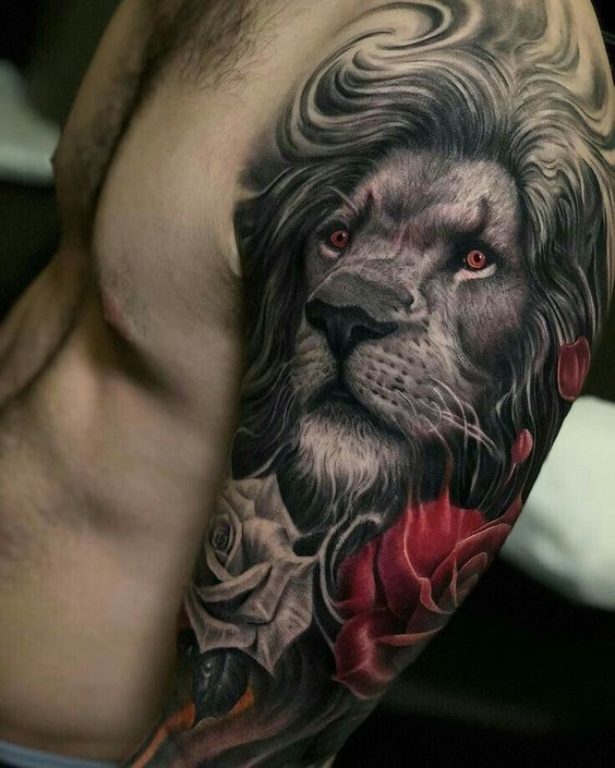 lion and rose flowers tattoo on upper sleeve for men
