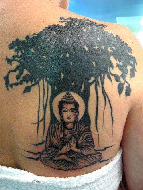realistic bodha sitting under bodhi tree tattoo