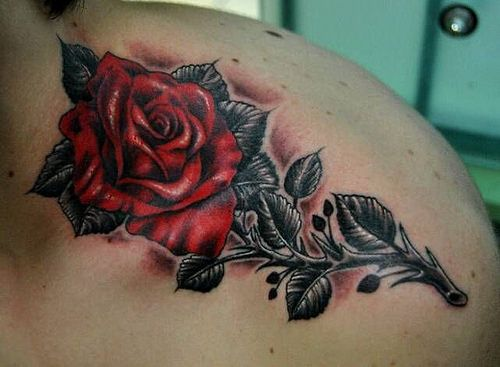 red rose flower tattoo for men