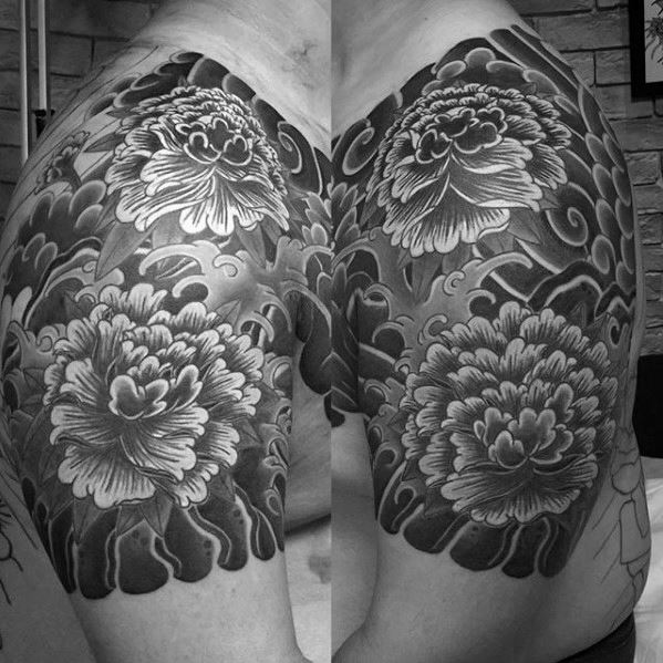 shoulder sleeve japanese carnation flowers tattoo for men