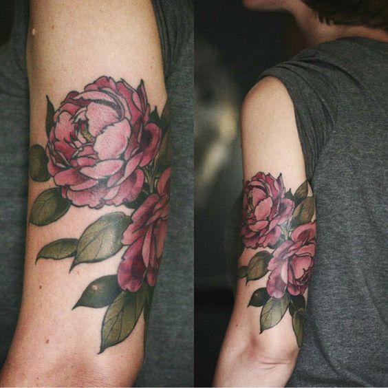 upper sleeve peony flower tattoo for men